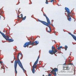 Tissu coton Spiderman X10cm - Blanc  - 1Tissucoton Spiderman - Blanc 100% coton - Bio certifié GOTS Hauteur motif :(debout)7