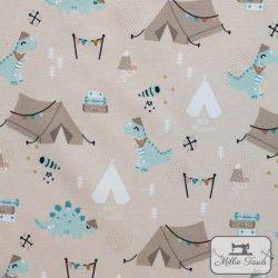 Tissu jersey Aventure - Camping -  X10cm - Beige  - 1Tissu jerseyAventures, Camping- Beige 95% coton 5% élasthanne Laize d'1m5
