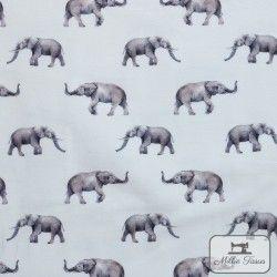 Tissu jersey Elephant X10cm - Blanc  - 1Tissu jerseyÉléphant - blanc 95% coton 5% élasthanne Laize d'1m40 Hauteur motif : 2,4