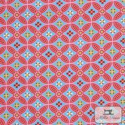 Tissu popeline abstrait x10cm - bleu  - 1Tissu popelineabstrait -bleu 100% coton Certifié Oeko-Tex Raccord : 15,5cm Laize d'1m