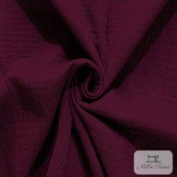 Tissu Double gaze coton X10cm - Lie de vin  - 1Double Gaze -lie de vin 100%coton certifié Oeko-Tex Laize d'1m50 Le tissu est v