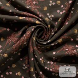 Tissu viscose fleurs X10cm - Kaki  - 1Tissupetites fleurs -Kaki 100% viscose Raccord : 15,8 cm Laize d'1m40 Certifié Oeko-Tex