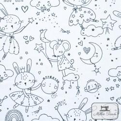 Tissu coton à colorier X10cm - Souris et Lapins  - 1Tissu à colorier -Souris et Lapins 100% coton Certifié Oeko-Tex Raccord :