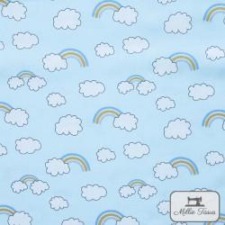 Tissu popeline Arc-en-ciel nuages x10cm - Bleu ciel  - 1Tissu popelinearc-en-ciel et nuages - bleu ciel 100% coton Certifié Oek