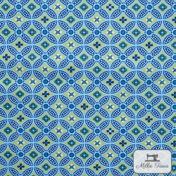 Tissu popeline abstrait x10cm - Turquoise  - 1Tissu popelineabstrait -Turquoise 100% coton Certifié Oeko-Tex Raccord : 15,5cm