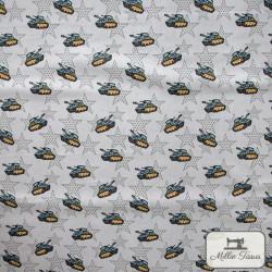 Tissu popeline Chars x10cm - Gris  - 4Tissu popelinechars - gris 100% coton Certifié Oeko-Tex Hauteur motif :environ 2,5 cm -