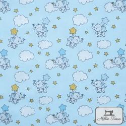 Tissu popeline Eléphants nuages x10cm - Bleu ciel  - 1Tissu popelineéléphants et nuages - bleu ciel 100% coton Certifié Oeko-Te