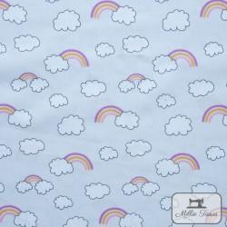 Tissu popeline Arc-en-ciel nuages x10cm - Rose  - 1Tissu popelinearc-en-ciel et nuages - Rose 100% coton Certifié Oeko-Tex Haut
