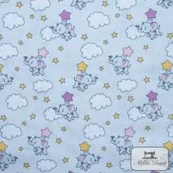 Tissu popeline Eléphants nuages x10cm - Rose  - 1Tissu popelineéléphants et nuages -Rose 100% coton Certifié Oeko-Tex Hauteur
