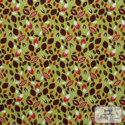 Tissu popeline Pétales x10cm - Anis  - 1Tissu popeline pétales - anis 100% coton Certifié Oeko-Tex Laize d'1m40 Le tissu est ven