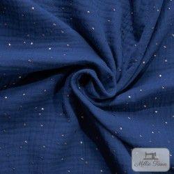 Tissu Double gaze coton pois dorés X10cm- bleu nuit  - 1Double Gaze à pois dorés en relief -bleu nuit 100%coton certifié Oeko-T