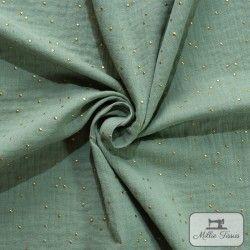 Tissu Double gaze coton pois dorés X10cm - Kaki clair  - 1Double Gaze à pois dorés en relief -kaki clair 100%coton certifié Oek