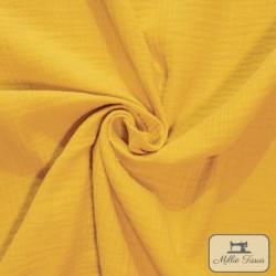 Tissu Double gaze coton X10cm- moutarde  - 1Double Gaze - moutarde 100%coton , certifié OekoTex Laize d'1m30 Le tissu est vendu
