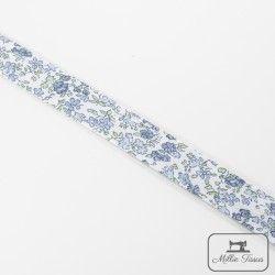 Biais motif petites fleurs - bleu  - 4Biaispetites fleurs - bleu 50% polyester - 50% coton Largeur : 20 mm  1 unité = 0m50 ; po