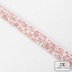 Biais motif petites fleurs - rose  - 5Biaispetites fleurs -rose 50% polyester - 50% coton Largeur : 20 mm  1 unité = 0m50 ; po