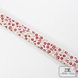 Biais motif petites fleurs - rouge  - 6Biaispetites fleurs -rouge 50% polyester - 50% coton Largeur : 20 mm  1 unité = 0m50 ;