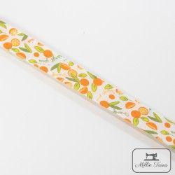 Biais motif fruits - orange  - 7Biaisfantaisie fruits - orange 100% coton Largeur : 20 mm  1 unité = 0m50 ; pour plusieurs long