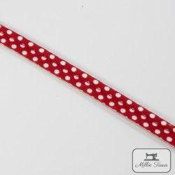Passepoil à pois - rouge  - 5Passepoil à pois - rouge 100% coton Largeur : 10 mm 1 unité = 0m50 ; pour plusieurs longueurs achet