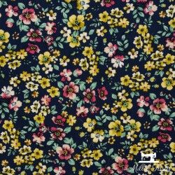 Tissu viscose fleurie jaune X10cm - Marine  - 1Tissufleurijaune - Marine 100% viscose Raccord: environ21cm Laize d'1m40 Cert