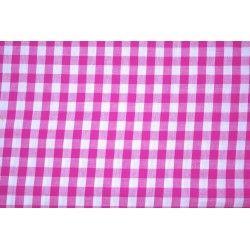 Tissu vichy carreaux 10 mm X10cm - fuchsia  - 1Tissu vichy fuchsia 100% coton, certifié OekoTex Laize d'1m47 Dimension du carrea