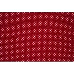 Tissu coton mini pois X10cm - rouge  - 1Tissumini pois blanc sur fondrouge 100% coton Laize d'1m50 - dimension du pois : 5mm