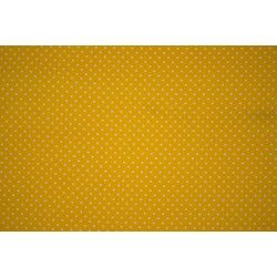 Tissu coton mini pois X10cm - jaune  - 1Tissumini pois blanc sur fond jaune 100% coton Laize d'1m50 - dimension du pois : 5mm