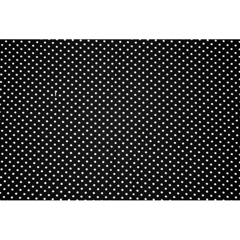 Tissu coton mini pois X10cm - noir  - 1Tissumini pois blanc sur fond noir 100% coton Laize d'1m50 - dimension du pois : 5mm  L