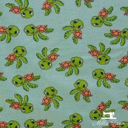 Tissu jersey Petites Tortues X10cm - Vert  - 1Tissu jersey Petites Tortues - Vert 95% coton 5% élasthanne Laize d'1m50 Hauteur