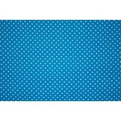 Tissu coton mini pois X10cm - turquoise  - 1Tissumini pois blanc sur fond turquoise 100% coton Laize d'1m50 - dimension du pois