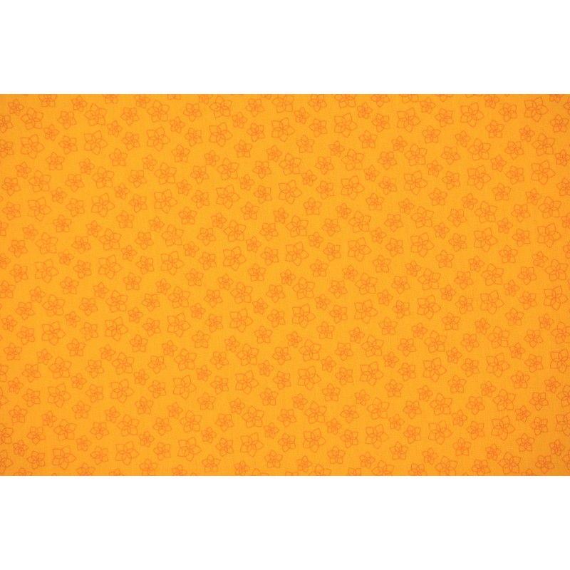 Popeline à fleurs X10cm - jaune  - 1Tissupopeline de coton jaune 100% coton - certifié OekoTex Laize d'1m40 - dimension de la f