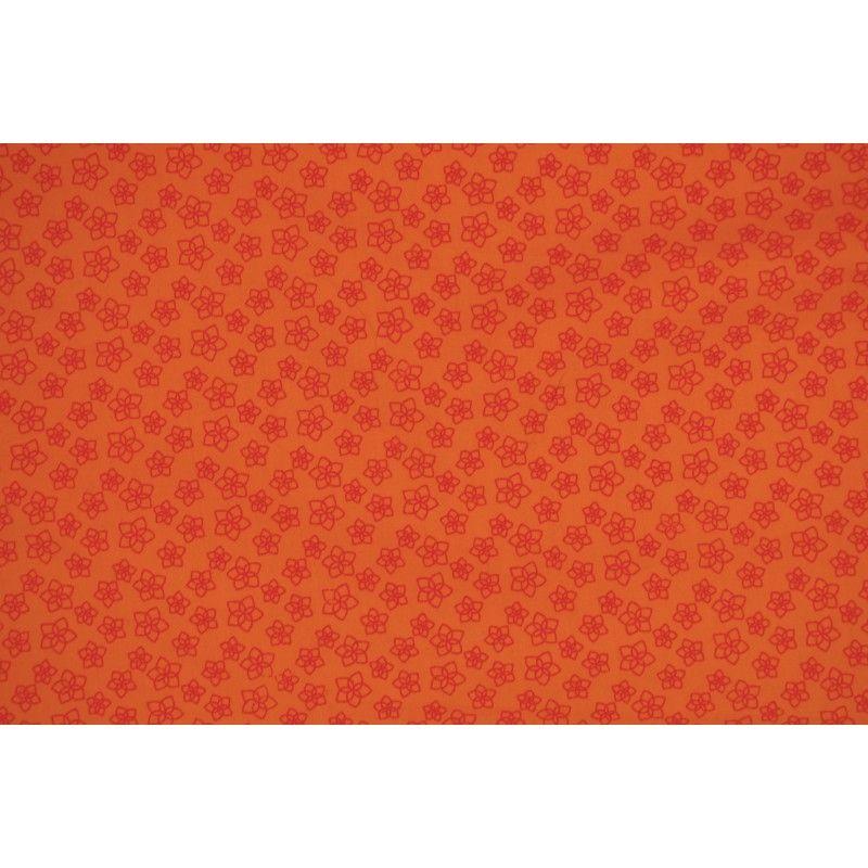 Popeline à fleurs X10cm - orange  - 1Tissupopeline de coton orange 100% coton - certifié OekoTex Laize d'1m40 - dimension de la