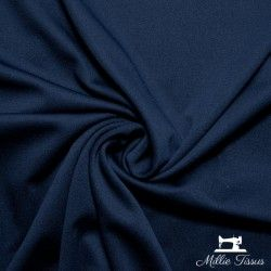 Tissu crêpe épais uni X10cm - Marine  - 1Tissucrêpe épais-marine 95% polyester - 5% élasthanne Certifié OekoTex Laize d'1m5