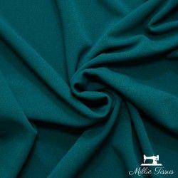 Tissu crêpe épais uni X10cm - Bleu canard  - 1Tissucrêpe épais-bleu canard 95% polyester - 5% élasthanne Certifié OekoTex L