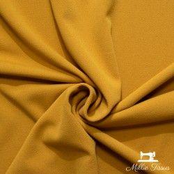 Tissu crêpe épais uni X10cm - Moutarde  - 1Tissucrêpe épais- moutarde 95% polyester - 5% élasthanne Certifié OekoTex Laize d