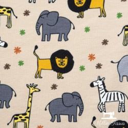 Tissu jersey animaux de la savane X10cm -  Beige  - 2Tissu jerseyanimaux de la savane - Beige 95% coton - 5% élasthanne Hauteu