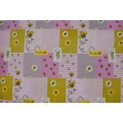Tissu coton enfants abeilles façon patchwork rose