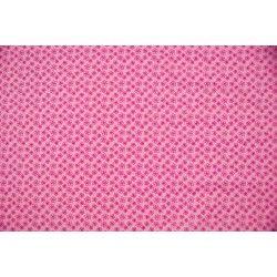 Popeline à fleurs X10cm - rose  - 1Tissupopeline de coton rose 100% coton - certifié OekoTex Laize d'1m40 - dimension de la fle