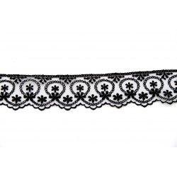 Dentelle tulle et fleurs - noir  - 1Dentelle noire polyester , 42mm de large Fleurs brodées sur du tulle 1 unité = 0m50 ; pour p
