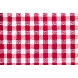 Tissu vichy carreaux brodés 10 mm X10cm - rouge  - 1Tissu vichy rouge bordé coeur 100% coton, certifié OekoTex Laize d'1m47 Dime