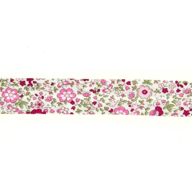 Biais à petites fleurs - rose  - 1Biaisfaçon liberty -rose 50% coton , 50% polyester Largeur : 20 mm  1 unité = 0m50 ; pour pl