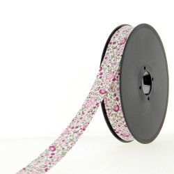 Biais à petites fleurs - rose  - 2Biaisfaçon liberty -rose 50% coton , 50% polyester Largeur : 20 mm  1 unité = 0m50 ; pour pl