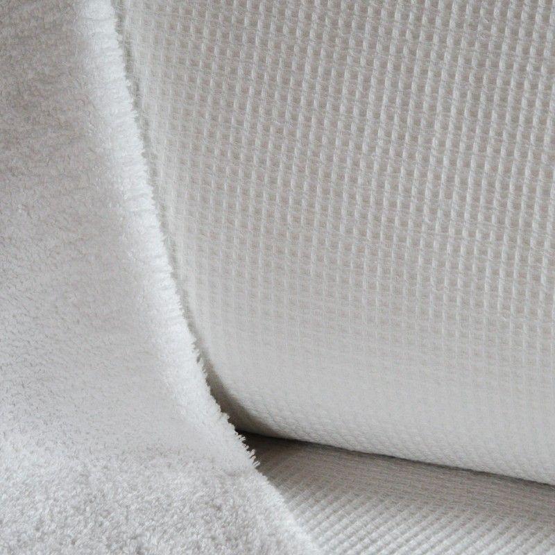 Eponge Nid d'abeille doublée X10cm- blanc  - 1Tissuépongenid d'abeille doublée d'éponge - blanc 100% coton, certifié OekoTex L