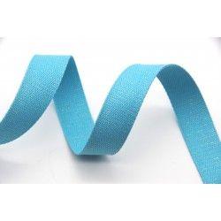 Sangle coton - turquoise brillant  - 1Sangle coton turquoise avec fils brillants argentés Largeur : 30 mm 98% coton et 2% métall