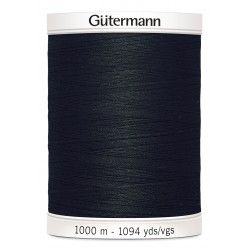 Bobine de fil noir 000 Gütermann 1000m polyester pour tout coudre Gütermann - 1Bobine de filnoir coloris 000 Bobine de 1000m, p