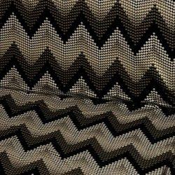 Tissu viscose motif chevrons X10cm - marron  - 1Tissu motifs Chevrons  - marron et noir 95% viscose , 5% élasthanne Laize d'1m