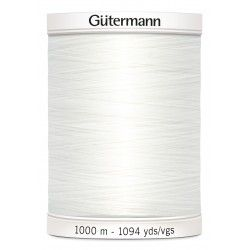 Bobine de fil blanc 800 Gütermann 1000m polyester pour tout coudre Gütermann - 1Bobine de fil blanc coloris 800 Bobine de 1000m,