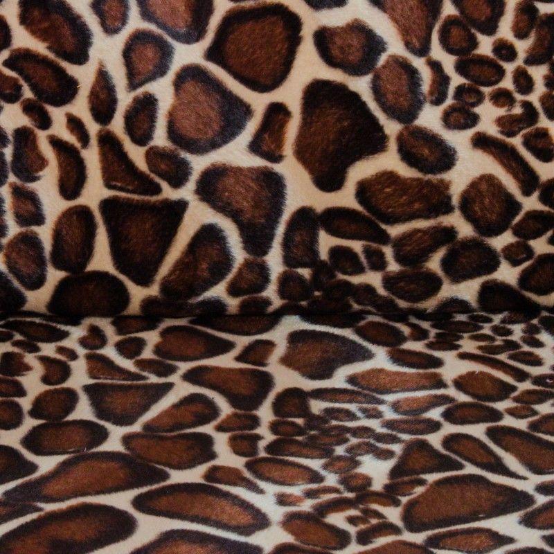 Tissu velours ras animal X10cm - girafe  - 1Tissuvelours ras - girafe 100% polyester Laize d'1m47 Le tissu est vendu par multip