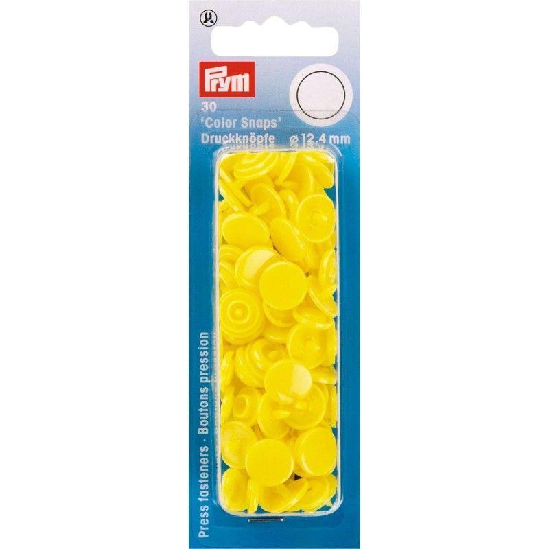 "30 boutons pression ""Color Snap"" jaune clair Prym Prym - 1Boutons pression ronds-jaune clair Color Snaps . Diamètre 12,4mm Com"
